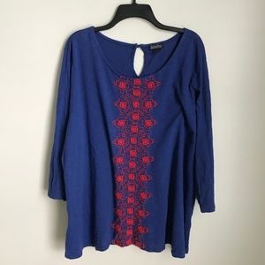 Lucky Brand Blue Red Embroidered Blouse